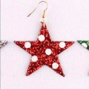 Red Holiday Polka Dot Star Earrings
